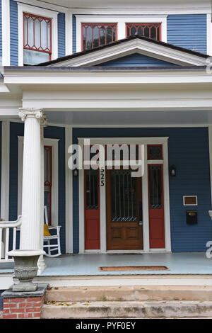 Front porch to a home in the historic Oakwood neighborhood of Raleigh North Carolina. - Stock Photo