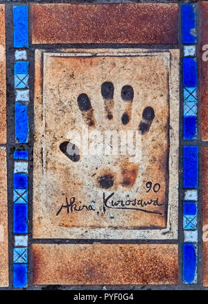 Cannes, France - October 18, 2013: Hand print of Akira Kurosawa on the Cannes Walk Of Fame - Stock Photo
