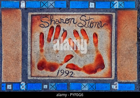 Cannes, France - October 18, 2013: Hand print of Sharon Stone on the Cannes Walk Of Fame - Stock Photo