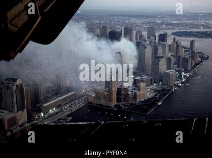 Sep 13, 2001 - Aerials of the smoldering World Trade Center, Ground Zero site following the 9/11, 2001 terrorist attacks. Photo by Gary Ell - Stock Photo