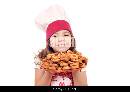 happy little girl cook with bruschette - Stock Photo