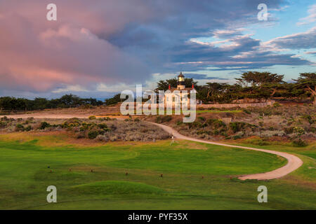 California lighthouse. Point Pinos lighthouse in Pacific Grove, Monterey, California. - Stock Photo