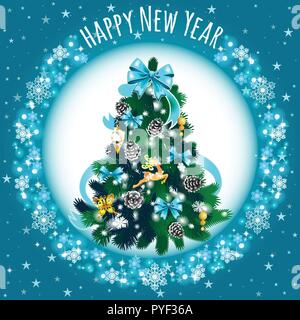 Sketch With Cute Christmas Tree With Blue Ribbon Bow. New Year Gifts, Texture Of Snowflakes, Classic Christmas Decorations And Baubles. Sample Of Poster, Invitation And Other Card. Vector Illustration - Stock Photo