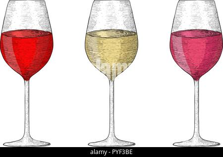 Glass of wine. Collection of hand drawn sketches - Stock Photo
