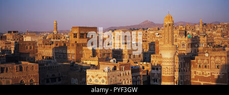 Yemen, Sanaa, Old Town, elevated view, Unesco World Heritage. - Stock Photo