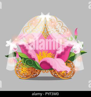 Fantasy bed the Princess in a pink flower petals with gold wheels of a fabulous carriage isolated on a grey background. Vector illustration. - Stock Photo