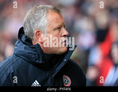 27th October 2018, Bramall Lane, Sheffield, England; Sky Bet Championship, Sheffield United v Wigan ; Sheffield United Manager Chris Wilder  Credit: Conor Molloy/News Images  English Football League images are subject to DataCo Licence - Stock Photo