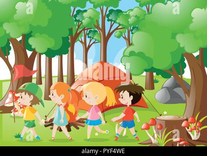 Children camping out in the woods illustration - Stock Photo