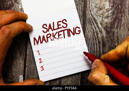 Text sign showing Sales Marketing. Conceptual photo introducing product or service in order to get bought. - Stock Photo