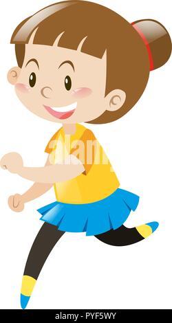 Little girl in yellow shirt running illustration - Stock Photo