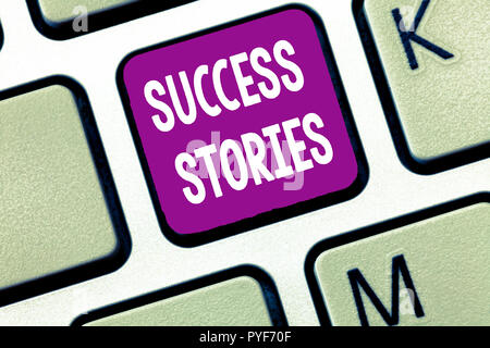 Text sign showing Success Stories. Conceptual photo life of rule models from how he started to his death. - Stock Photo