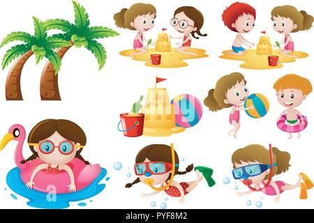 Kids doing different activities on the beach illustration - Stock Photo