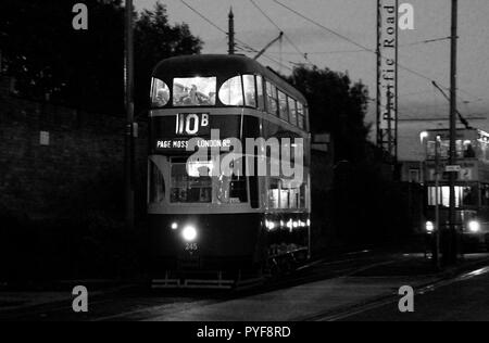 Wirral,Uk Merseyside trams put on twilight event for 1st time credit Ian Fairbrother/Alamy Stock Photos - Stock Photo