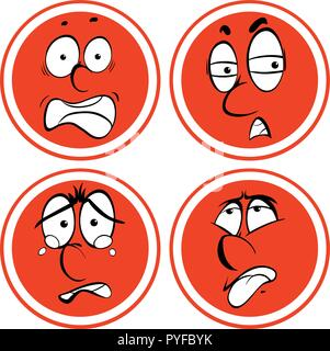 Facial expressions on red circle illustration