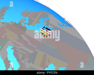 Baltic States with national flags on simple blue political globe. 3D illustration. - Stock Photo
