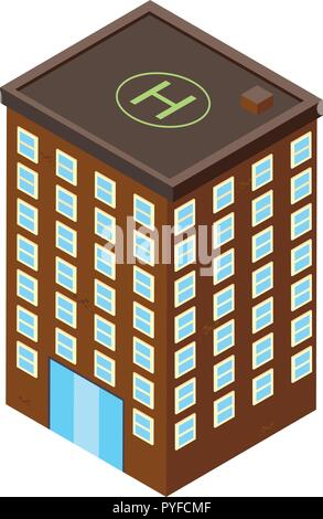 3D design for office building in brown color illustration - Stock Photo
