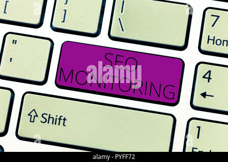 Text sign showing Seo Monitoring. Conceptual photo Tracking the progress of strategy made in the platform. - Stock Photo