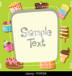 Frame template with different types of desserts illustration - Stock Photo