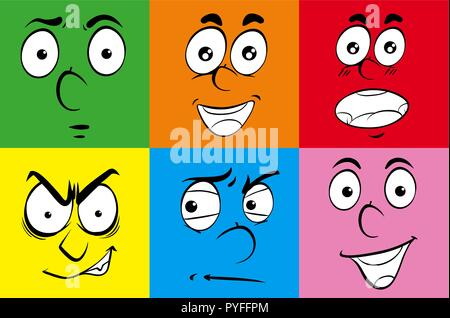 Different expressions on human faces illustration