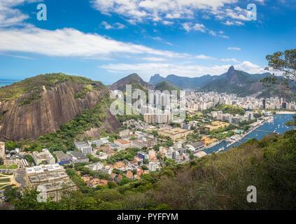 Aerial view of Rio de Janeiro with Babilonia Hill and Corcovado Mountain - Rio de Janeiro, Brazil - Stock Photo