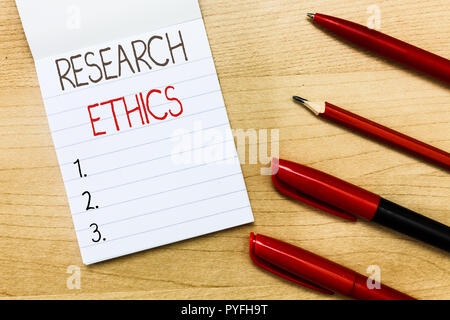 Conceptual hand writing showing Research Ethics. Business photo text interested in the analysis of ethical issues that raised . - Stock Photo