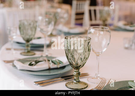 Lunch table for guests at a wedding. - Stock Photo