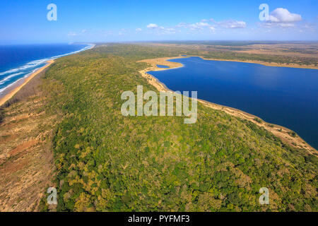 Aerial view of Sodwana Bay National Park within the iSimangaliso Wetland Park, Maputaland, an area of KwaZulu-Natal on the east coast of South Africa. - Stock Photo