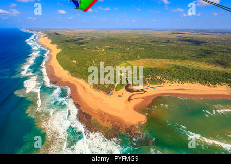 Aerial view of Sodwana Bay National Park within the iSimangaliso Wetland Park, Maputaland, an area of KwaZulu-Natal on the east coast of South Africa. Indian Ocean landscape. - Stock Photo