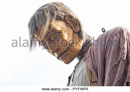 Sleepy head of the Big Giant, puppet by Royal de Luxe, Liverpool's Dream, Giant Spectacular, Liverpool, UK, 2018 - Stock Photo