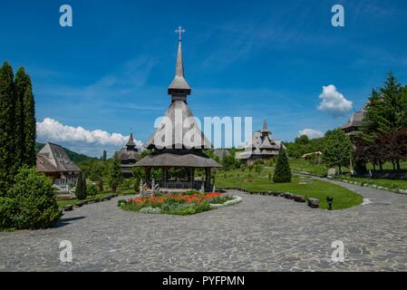 The Monastery of Barsana in Romania is one of the main attractions among the wooden churches of the Maramures region - Stock Photo