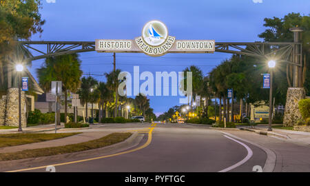 Melbourne, Florida, USA - March 31, 2018: Historic Downtown Melbourne is entertainment and shopping destination in a charming part of the city. - Stock Photo