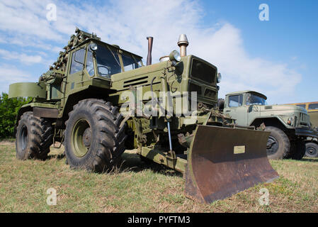 Ancient military engineering. Armored bulldozer - Stock Photo