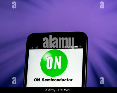 ON Semiconductor. Semiconductor manufacturing company logo seen displayed on smart phone. ON Semiconductor is a Fortune 500 semiconductors supplier company. Products include power and signal management, logic, discrete, and custom devices for automotive, communications, computing, consumer, industrial, LED lighting, medical, military/aerospace and power applications. - Stock Photo