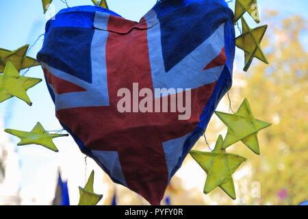 British heart and European stars symbolises friendship and unity - concept - Stock Photo