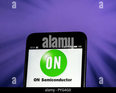 Kiev, Ukraine. 26th Oct, 2018. ON Semiconductor. Semiconductor manufacturing company logo seen displayed on smart phone. ON Semiconductor is a Fortune 500 semiconductors supplier company. Products include power and signal management, logic, discrete, and custom devices for automotive, communications, computing, consumer, industrial, LED lighting, medical, military/aerospace and power applications. Credit: Igor Golovniov/SOPA Images/ZUMA Wire/Alamy Live News - Stock Photo