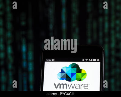 VMware Computer software company logo seen displayed on smart phone