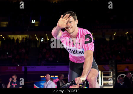 London, UK. 27th October 2018. Alexander Spratt (GBR) at Printers presentation during Six Day London 2018 at Lee Valley Velopark, Queen Elizabeth Olympic Park on Saturday, 27 October 2018. LONDON ENGLAND.  (Editorial use only, license required for commercial use. No use in betting, games or a single club/league/player publications.) - Stock Photo