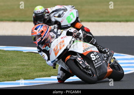 October 27, 2018: Sam Lowes (UK) on the No.22 KTM from Swiss Innovative Investors during the Moto2 practice session three at the 2018 MotoGP of Australia at Phillip Island Grand Prix Circuit, Victoria, Australia. Sydney Low/Cal Sport Media - Stock Photo
