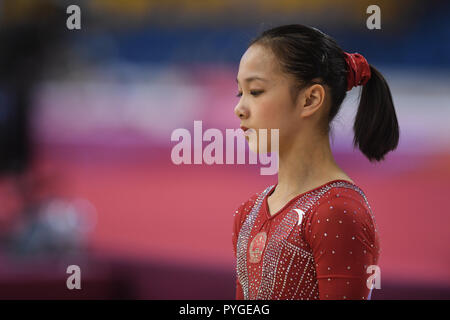 Doha, Qatar. 28th Oct, 2018. ZHANG JIN concentrates during the second day of preliminary competition held at the Aspire Dome in Doha, Qatar. Credit: Amy Sanderson/ZUMA Wire/Alamy Live News - Stock Photo