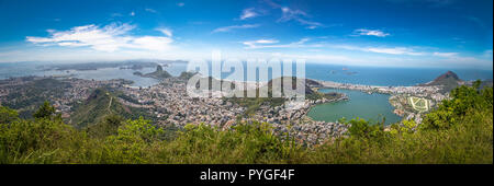 Panoramic aerial view of Rio de Janeiro with Sugar Loaf Mountain and Rodrigo de Freitas Lagoon - Rio de Janeiro, Brazil - Stock Photo