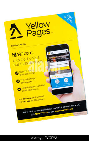 Final print copy of Yellow Pages business directory. - Stock Photo