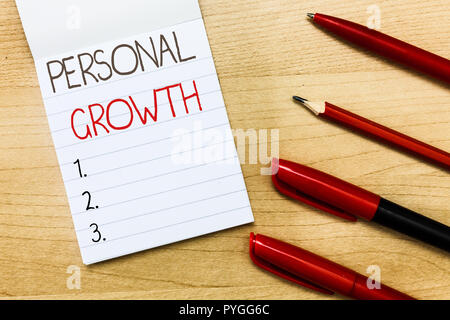 Conceptual hand writing showing Personal Growth. Business photo text improve develop your skills qualities Learn new materials. - Stock Photo