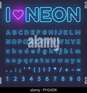Neon Alphabet. Letters, symbols, numbers - Stock Photo