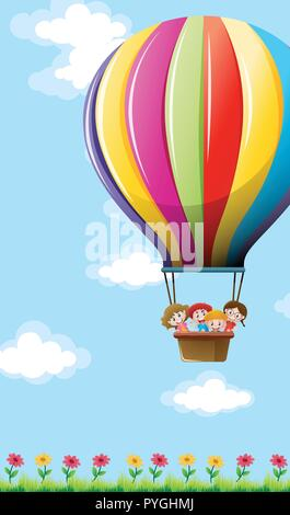 Many children flying on colorful balloon illustration - Stock Photo