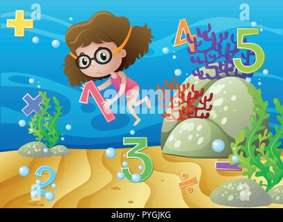 Girl and numbers underwater illustration - Stock Photo