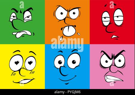 Human facial expressions on colorful background illustration