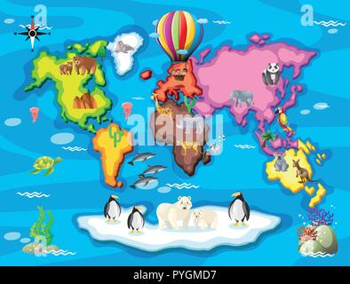 Wild animals from all over the world illustration - Stock Photo