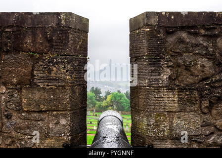 A view to National Wallace monument in distant haze from the Grand battery in Stirling Castle, Scotland - Stock Photo