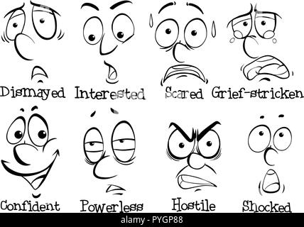 Eight facial expressions of human illustration