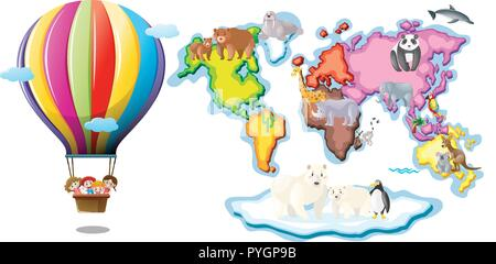 Worldmap with animals and balloon riding illustration - Stock Photo